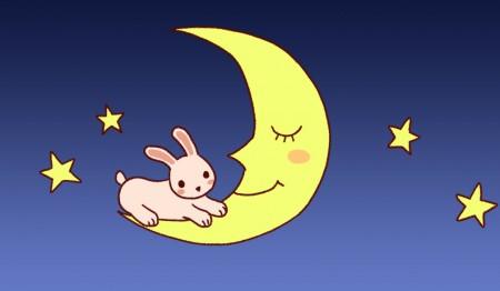 月とうさぎ背景あり