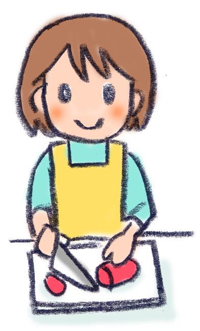 手書き料理する子ども イラスト Flat Design