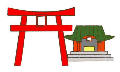 神社と鳥居イラスト Flat Design