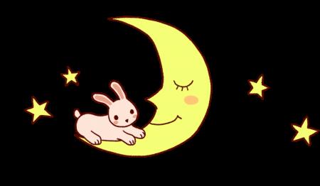 月とうさぎ 透過背景PNG